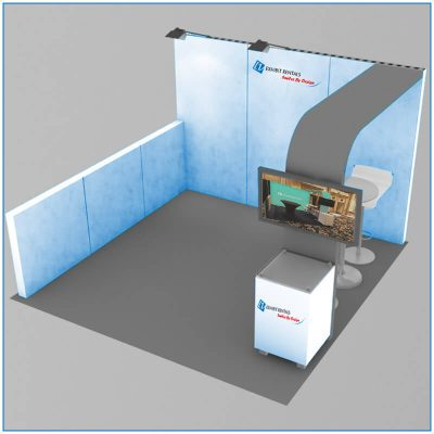 10x10 Trade Show Booth Rental - Package 100 - Angle View - Rendering - LV Exhibit Rentals