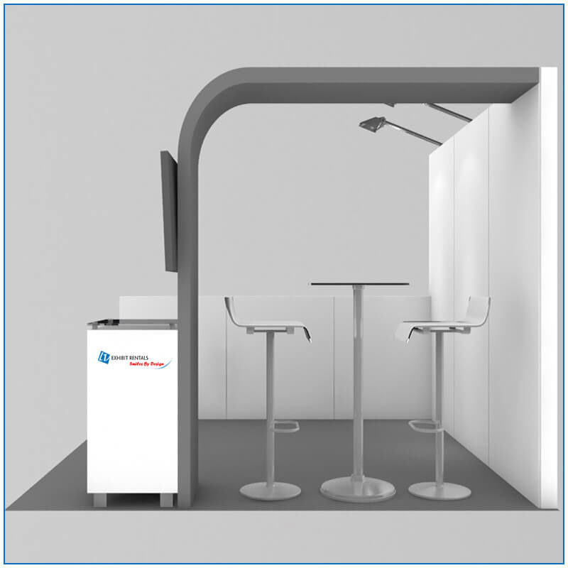 10x10 Trade Show Booth Rental - Package 100 - Side View - Rendering - LV Exhibit Rentals