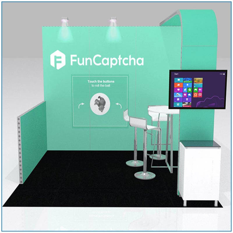 10x10 Trade Show Booth Rental - Package 100 - FunCaptcha - Front View Rendering - LV Exhibit Rentals
