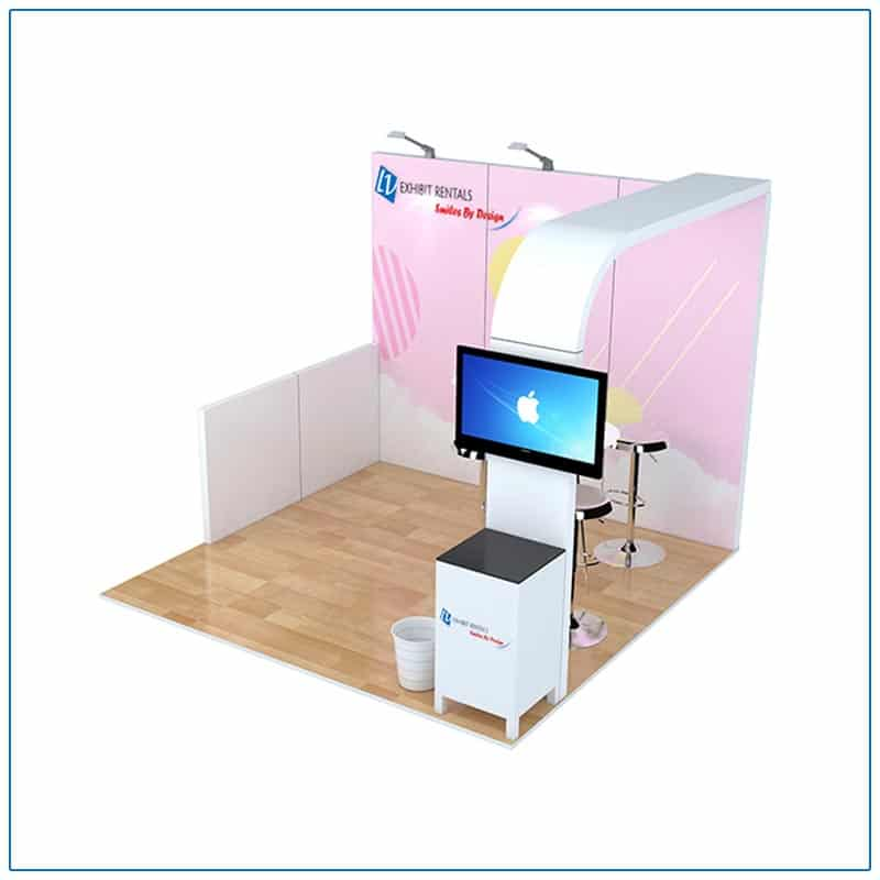 10x10 Trade Show Booth Rental Package 100 - Angle View - LV Exhibit Rentals in Las Vegas