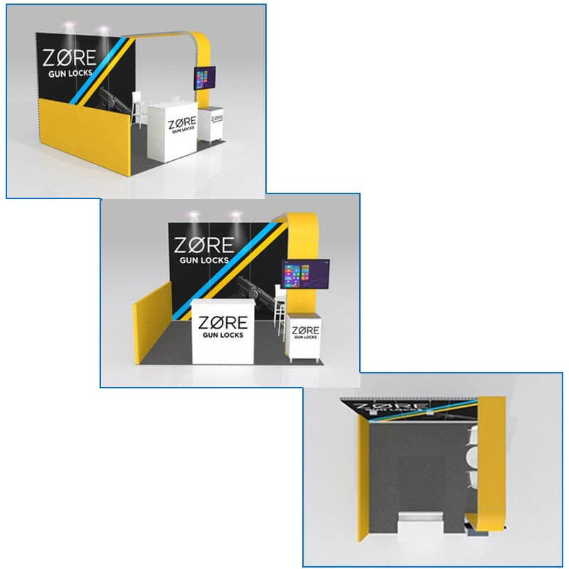 10x10 Trade Show Booth Rental - Package 100 - Rendering - LV Exhibit Rentals