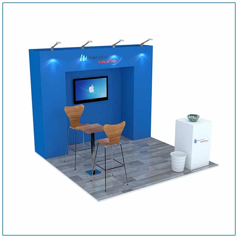 10x10 Trade Show Booth Rental Package 101 - Angle View - LV Exhibit Rentals in Las Vegas