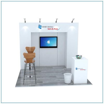 10x10 Trade Show Booth Rental Package 101 - Front View - LV Exhibit Rentals in Las Vegas