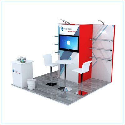 10x10 Trade Show Booth Rental Package 102 - Angle View - LV Exhibit Rentals in Las Vegas