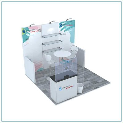 10x10 Trade Show Booth Rental Package 103 - Angle View - LV Exhibit Rentals in Las Vegas