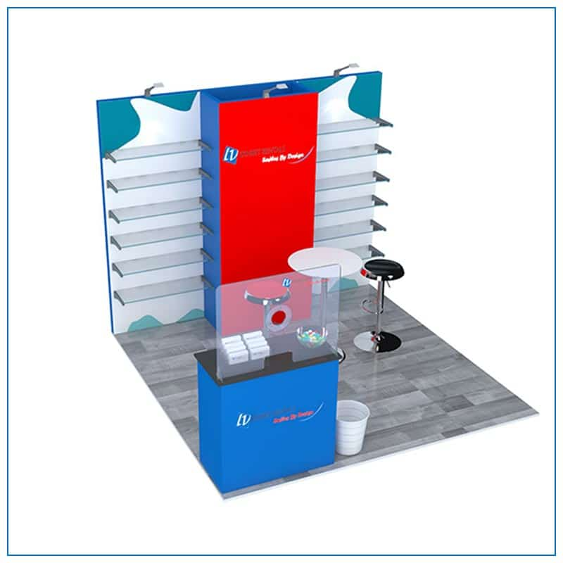 10x10 Trade Show Booth Rental Package 104 - Angle View2 - LV Exhibit Rentals in Las Vegas