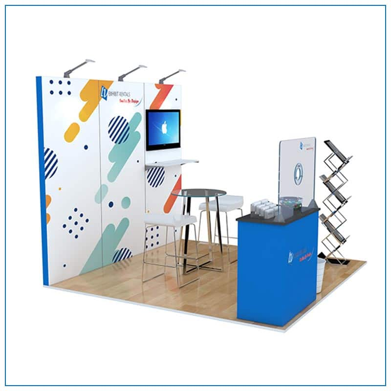 10x10 Trade Show Booth Rental Package 105 - Angle View - LV Exhibit Rentals in Las Vegas
