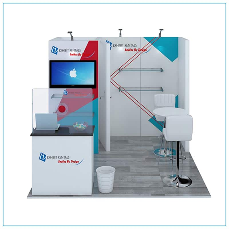 10x10 Trade Show Booth Rental Package 108 from LV Exhibit Rentals in Las Vegas - Front View