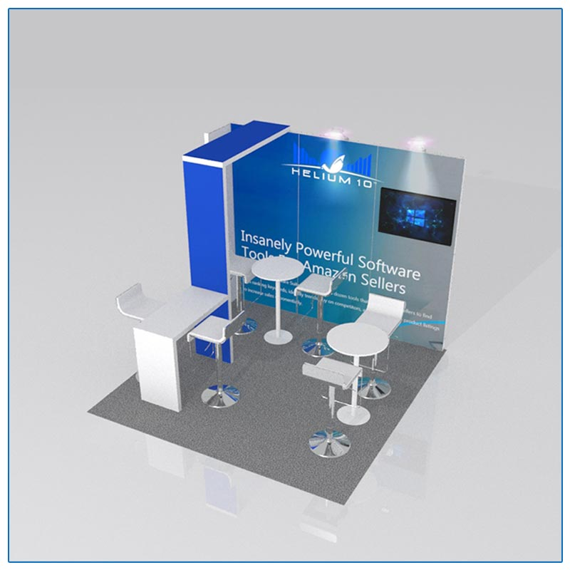 10x10 Trade Show Booth Rental Package 109 - Angle View - LV Exhibit Rentals in Las Vegas
