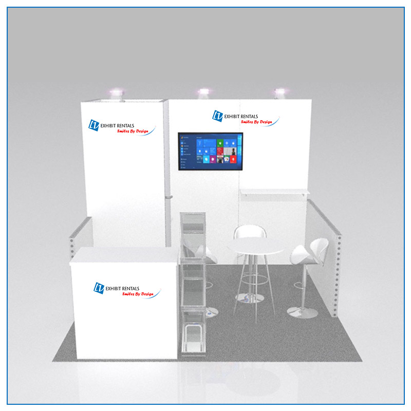 10x10 Trade Show Booth Rental Package 108A - Front View - LV Exhibit Rentals in Las Vegas