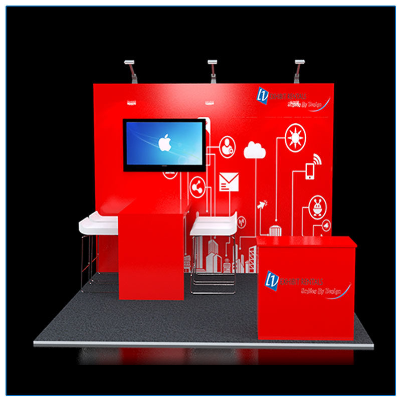 10x10 Trade Show Booth Rental Package 111 - Front View - LV Exhibit Rentals in Las Vegas