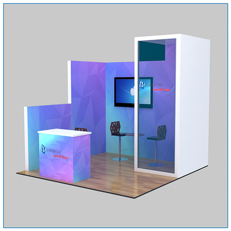 10x10 Trade Show Booth Rental Package 112 - Angle View - LV Exhibit Rentals in Las Vegas