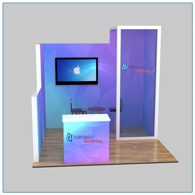 10x10 Trade Show Booth Rental Package 112 - Front Close Up View - LV Exhibit Rentals in Las Vegas