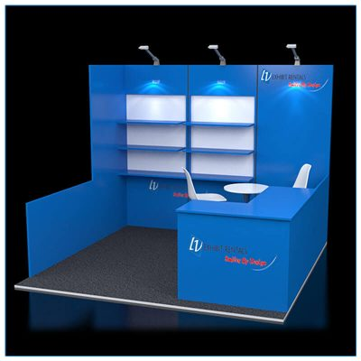 10x10 Trade Show Booth Rental Package 113 - Angle View - LV Exhibit Rentals in Las Vegas
