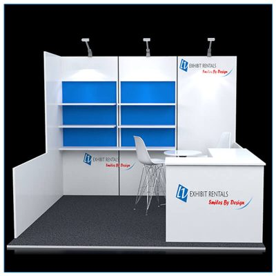 10x10 Trade Show Booth Rental Package 113 - Front View - LV Exhibit Rentals in Las Vegas