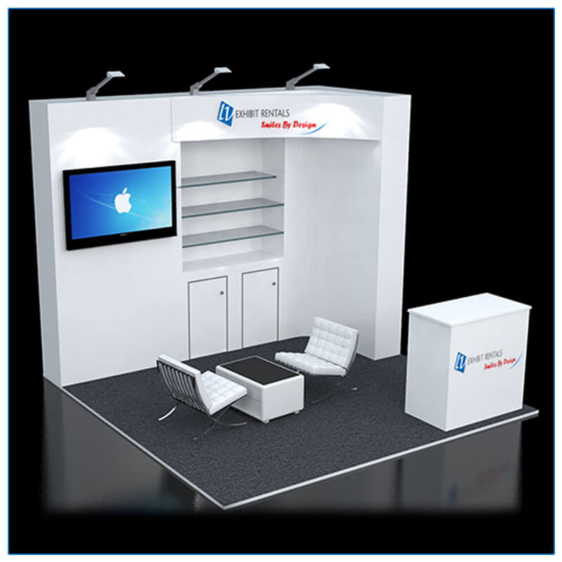10x10 Trade Show Booth Rental Package 114 - Angle View - LV Exhibit Rentals in Las Vegas