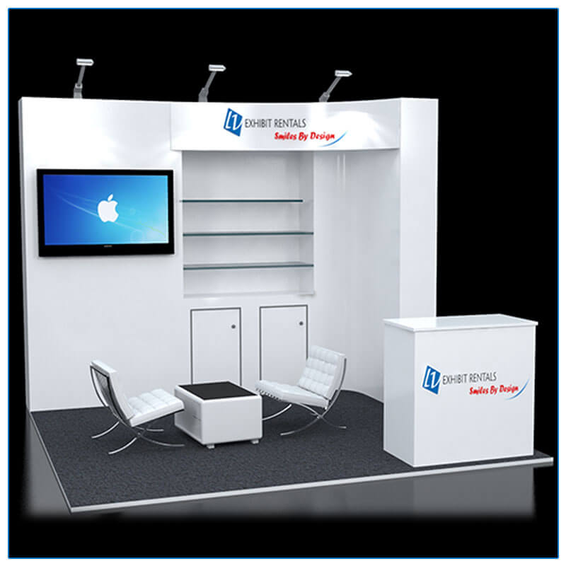10x10 Trade Show Booth Rental Package 114 - Front View - LV Exhibit Rentals in Las Vegas