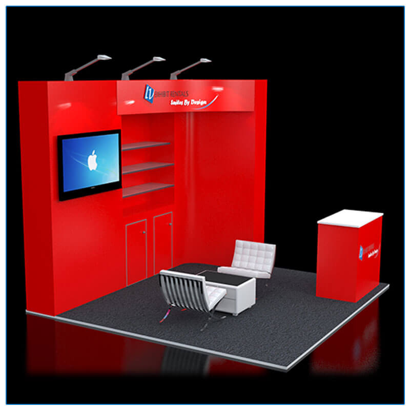 10x10 Trade Show Booth Rental Package 114 - Side View - LV Exhibit Rentals in Las Vegas