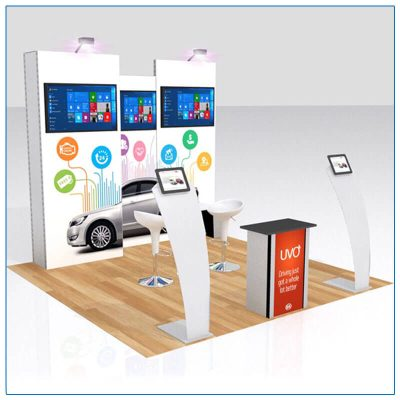 10x10 Trade Show Booth Rental Package 115 - Angle View - LV Exhibit Rentals in Las Vegas