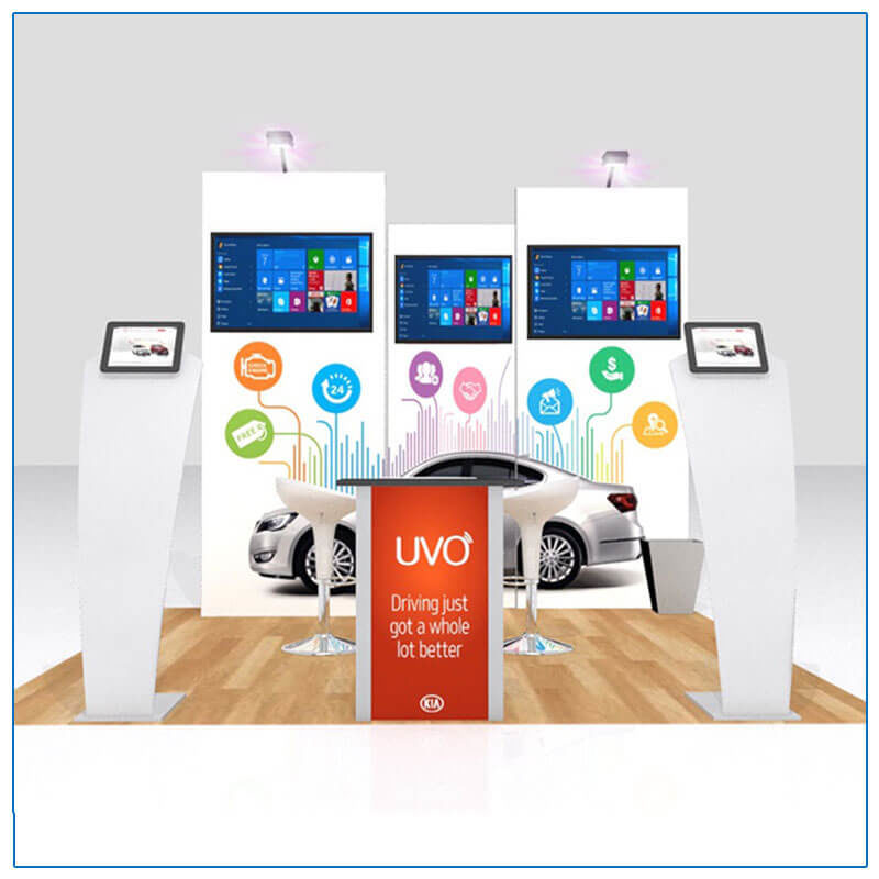 10x10 Trade Show Booth Rental Package 115 - Front View - LV Exhibit Rentals in Las Vegas