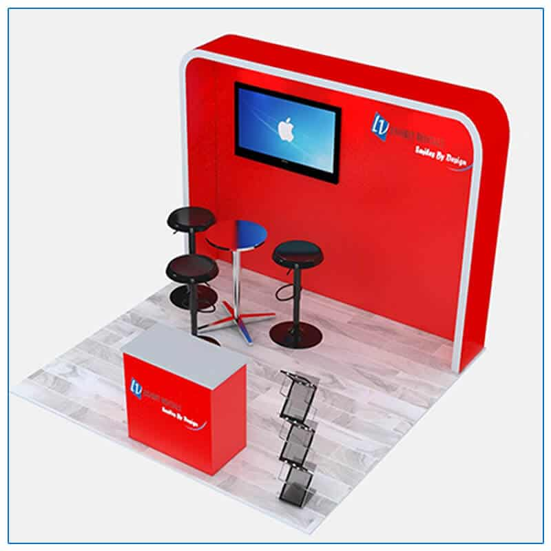 10x10 Trade Show Booth Rental Package 116 - Angle View - LV Exhibit Rentals in Las Vegas