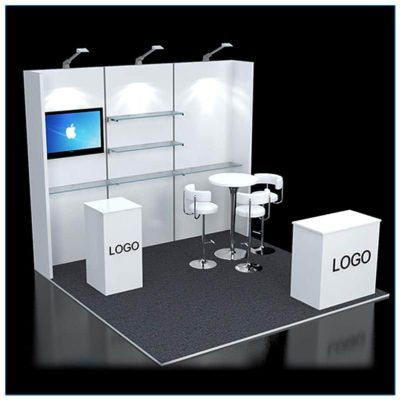 10x10 Trade Show Booth Rental Package 120 - angle view - LV Exhibit Rentals in Las Vegas