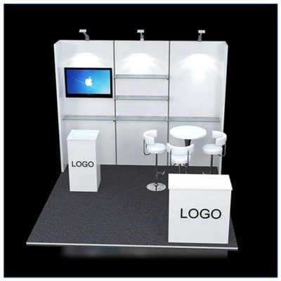 10x10 Trade Show Booth Rental Package 120 - front view - LV Exhibit Rentals in Las Vegas