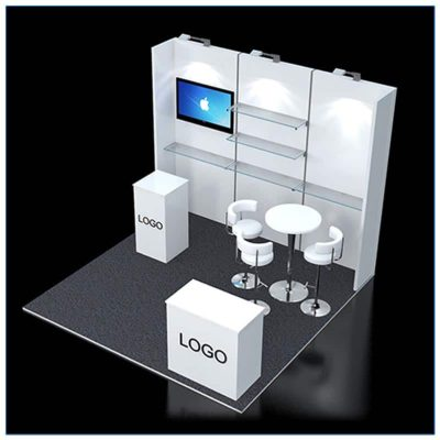 10x10 Trade Show Booth Rental Package 120 - top-down view - LV Exhibit Rentals in Las Vegas