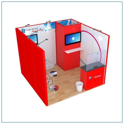 10x10 Trade Show Booth Rental Package 122 - Angle View - LV Exhibit Rentals in Las Vegas