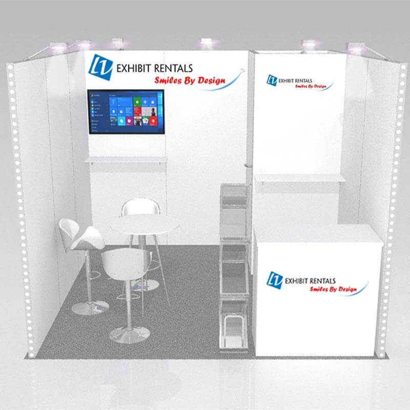 10x10 Trade Show Booth Rental Package 122 - Front View - LV Exhibit Rentals in Las Vegas