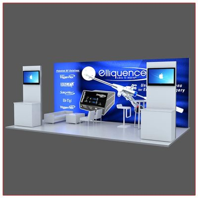 10x20 Trade Show Booth Rental Package 202 - Angle View - LV Exhibit Rentals in Las Vegas