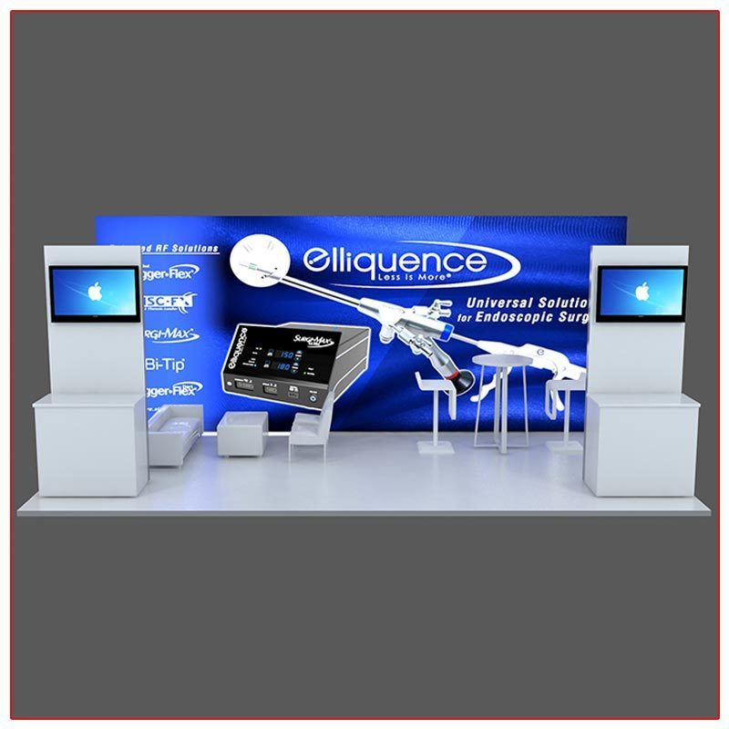 10x20 Trade Show Booth Rental Package 202 - Front View - LV Exhibit Rentals in Las Vegas