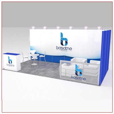 10x20 Trade Show Booth Rental Package 203 - Angle View - LV Exhibit Rentals in Las Vegas