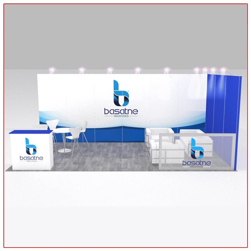 10x20 Trade Show Booth Rental Package 203 - Front View - LV Exhibit Rentals in Las Vegas