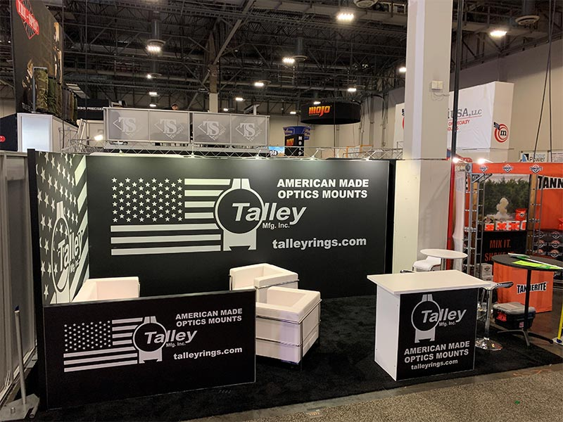 10x20 Trade Show Booth Rental Package 203 Variation - Talley Manufacturing - LV Exhibit Rentals in Las Vegas