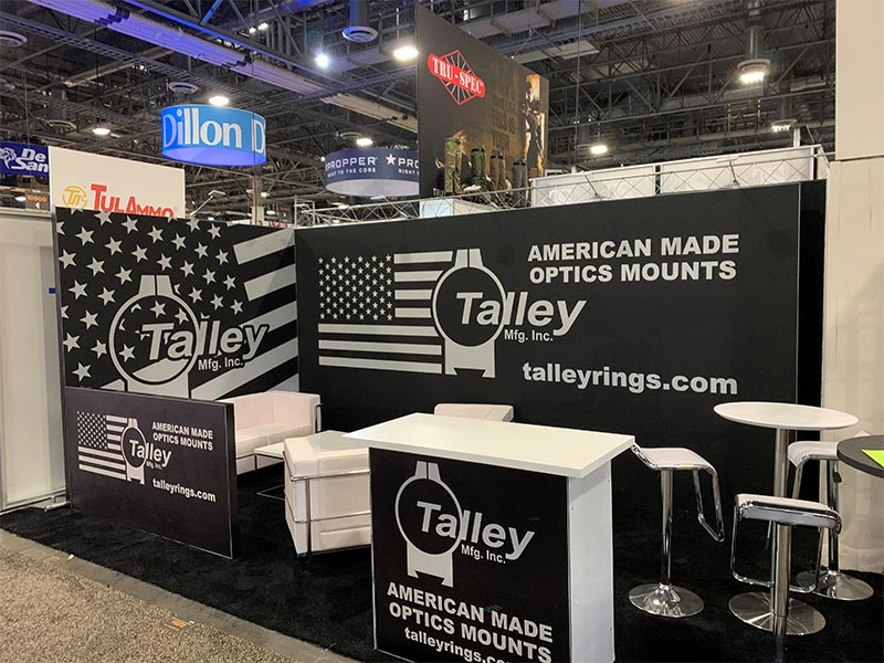 10x20 Trade Show Booth Rental Package 203 Variation - Talley Manufacturing - Shot Show 2020 - LV Exhibit Rentals in Las Vegas