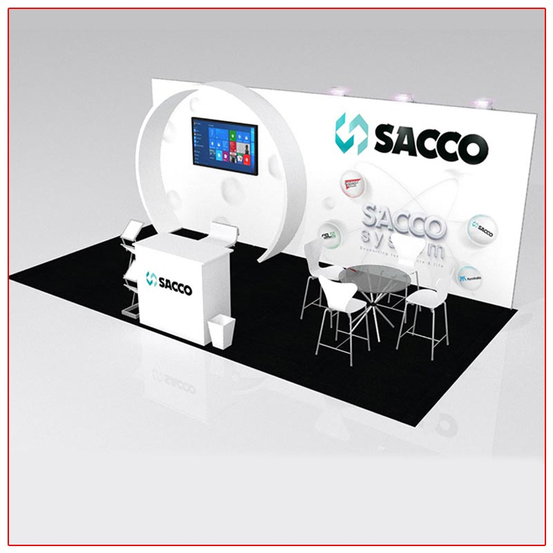 10x20 Trade Show Booth Rental Package 204 - Angle View - LV Exhibit Rentals in Las Vegas