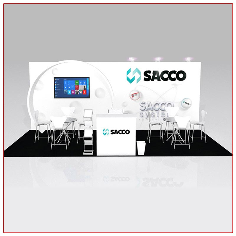 10x20 Trade Show Booth Rental Package 204 - Front View - LV Exhibit Rentals in Las Vegas