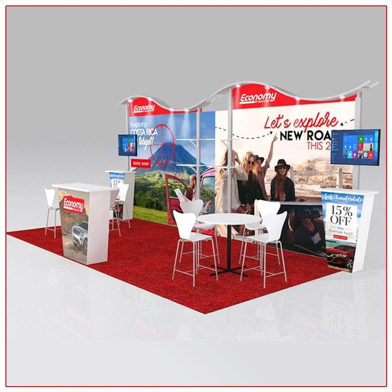 10x20 Trade Show Booth Rental Package 206 - Angle View - LV Exhibit Rentals in Las Vegas