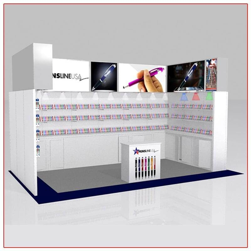 10x20 Trade Show Booth Rental Package 207 - Angle View - LV Exhibit Rentals in Las Vegas