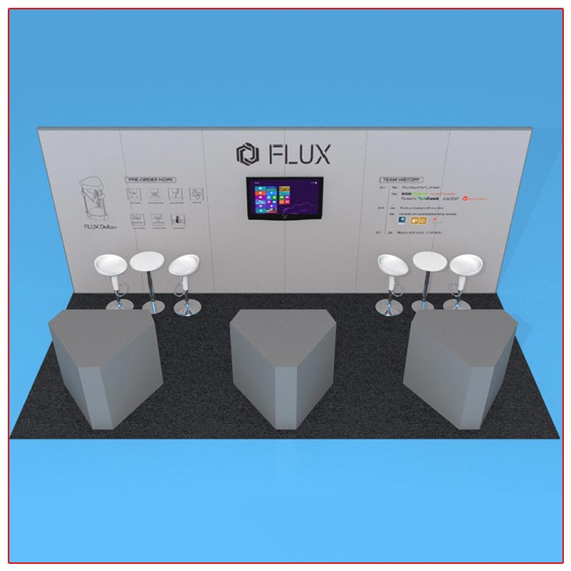 10x20 Trade Show Booth Rental Package 208 Front View - LV Exhibit Rentals in Las Vegas