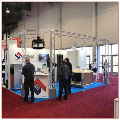 10x20 Trade Show Booth Rental Package 211 Front View - LV Exhibit Rentals in Las Vegas