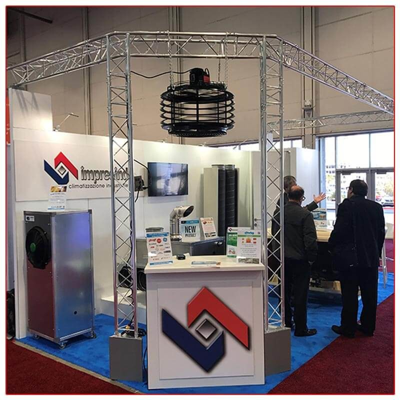 10x20 Trade Show Booth Rental Package 211 Reception Counter and Truss Close-Up - LV Exhibit Rentals in Las Vegas
