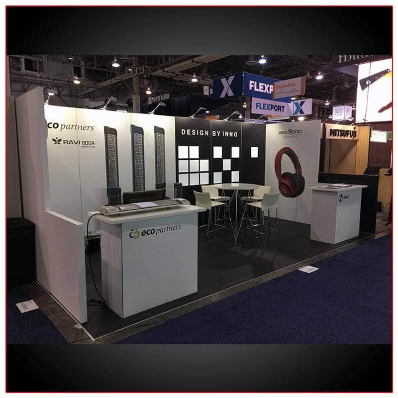 10x20 Trade Show Booth Rental Package 214 Angle View- LV Exhibit Rentals in Las Vegas