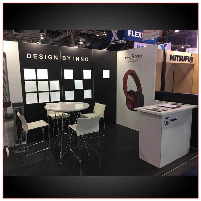 10x20 Trade Show Booth Rental Package 214 LED Cube Shelves Side - LV Exhibit Rentals in Las Vegas