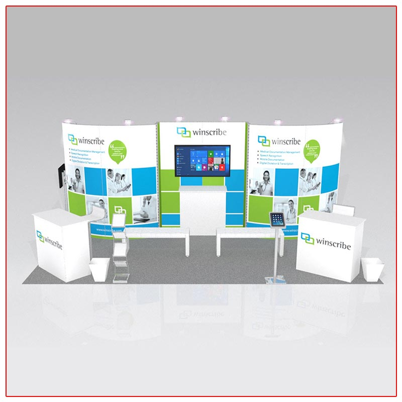 10x20 Trade Show Booth Rental Package 216 Front View - LV Exhibit Rentals in Las Vegas
