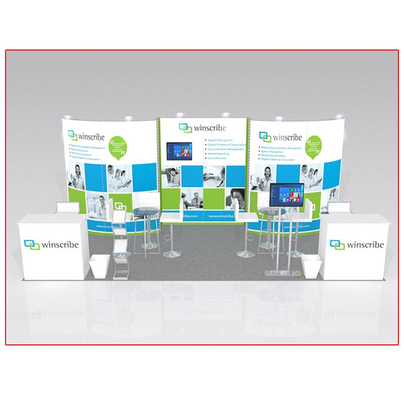 10x20 Trade Show Booth Rental Package 216 - Variation Front View - LV Exhibit Rentals in Las Vegas