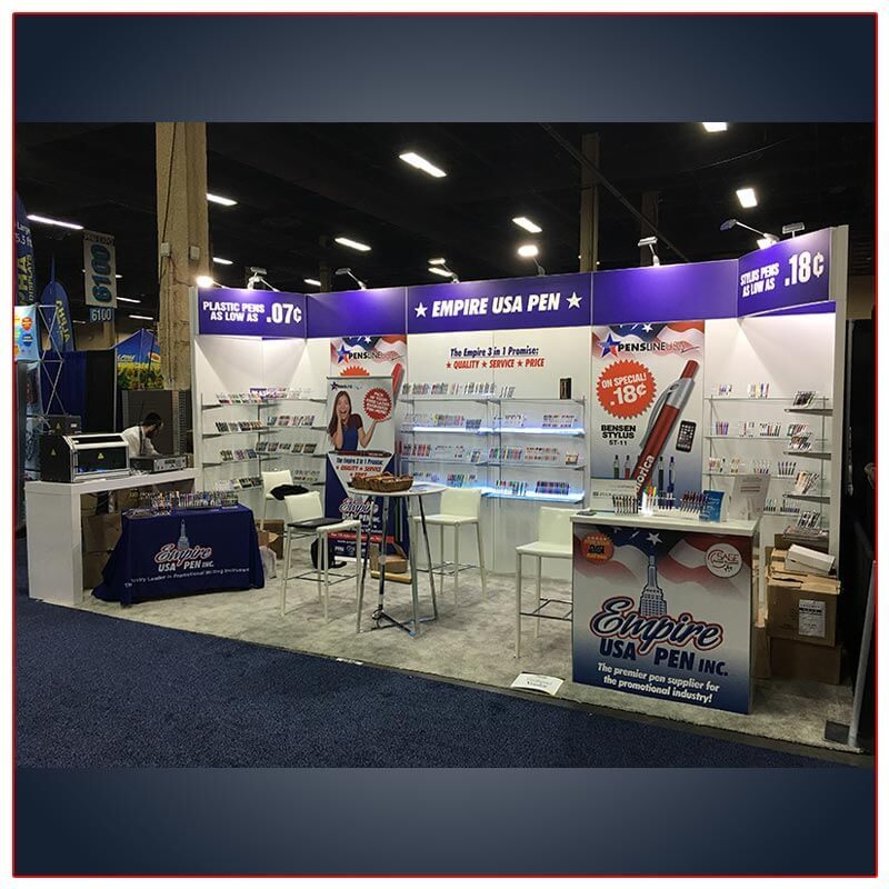 10x20 Trade Show Booth Rental Package 217 Angle View - LV Exhibit Rentals in Las Vegas
