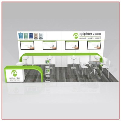 10x20 Trade Show Booth Rental Package 218 Front View - LV Exhibit Rentals in Las Vegas
