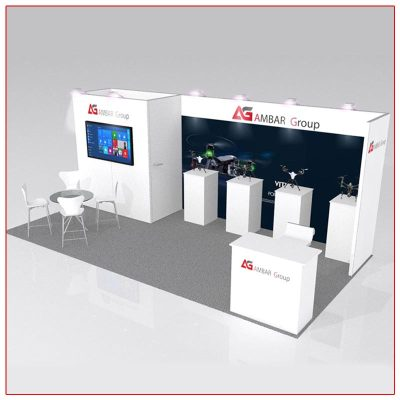 10x20 Trade Show Booth Rental Package 221 Angle View - LV Exhibit Rentals in Las Vegas